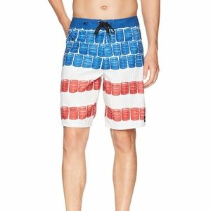 O'NEILL RED/WHITE/BLUE DRAWSTRING BOARD SHORTS 30